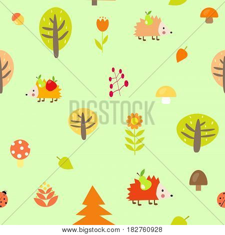Cute autumn seamless pattern fox forest tree, September October mushroom cartoon print packing textiles hedgehog berry harvest August