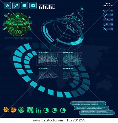 Background With Futuristic User Interface Design Concept With Hud Elements