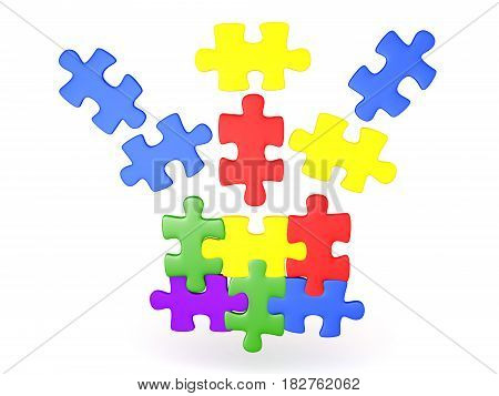3D Illustration of jigsaw puzzle pieces falling into place. The pieces are shiny and colorful.