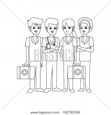 group of medical doctors icon image vector illustration design