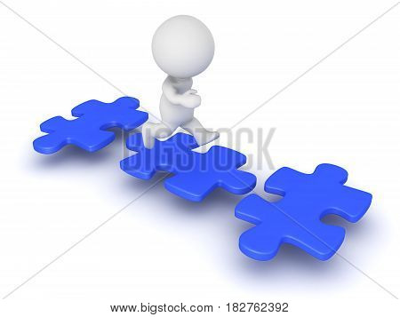3D Character jumping from puzzle piece to puzzle piece. The pieces are blue.