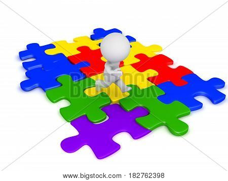 3D Character running on connected jigsaw puzzle pieces. They are multi colored.