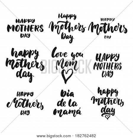 Happy Mother's Day - hand drawn lettering phrase isolated on the white background. Fun brush ink inscription for photo overlays, greeting card or t-shirt print, poster design