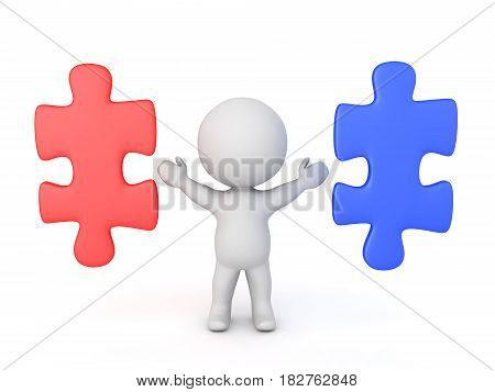 3D Character with two puzzle pieces next to him one red another blue. Image conveying the concept of choice.
