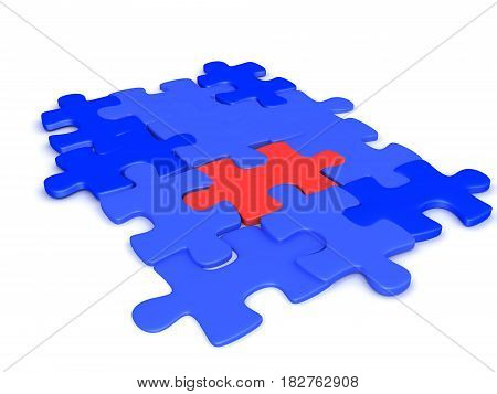 3D illustration of blue jigsaw puzzles pieces with a red one in the middle. The red one could signfy the key element.