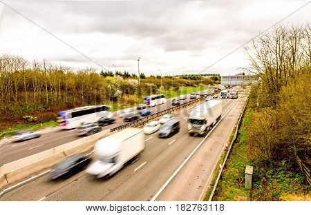 Oberhead view background of UK Motorway Road.