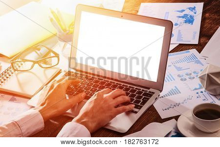 Business woman working on laptop in sunlight. Responsive design on laptop