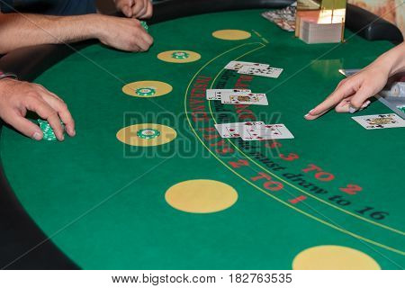 Inside Casino: Behind Black Jack Gambling Table Chips and Cards
