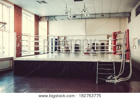 Modern boxing ring for boxers to practice and work out