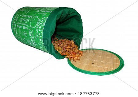 Storage bag with scattered dried apple slices