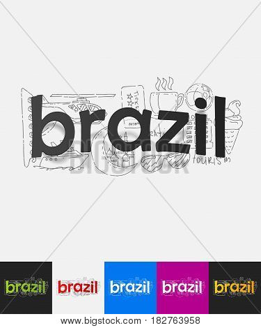 hand drawn simple elements with brazil paper sticker shadow