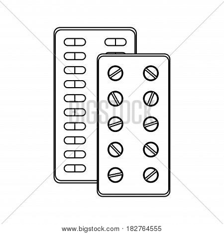 pills and tablets medication health icon image vector illustration design