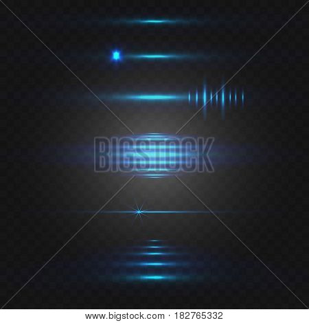 Abstract light. VECTOR set of glowing lines. Blue isolted on black background