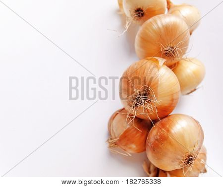 Golden onions in closeup isolated on white