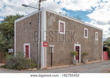 CALITZDORP SOUTH AFRICA - MARCH 24 2017: The Hooisolder (hay attic) an historic old building in Calitzdorp. The original section was built pre 1900