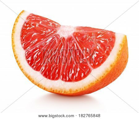 Wedge Of Pink Grapefruit Citrus Fruit Isolated On White
