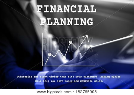 Financial planning with upward line graph