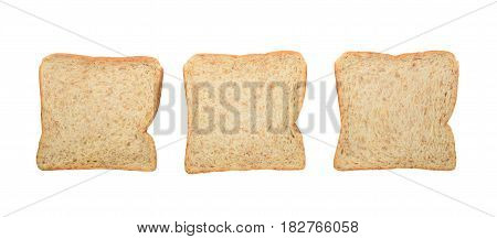 Three fresh whole wheat bread slices isolated on a white background