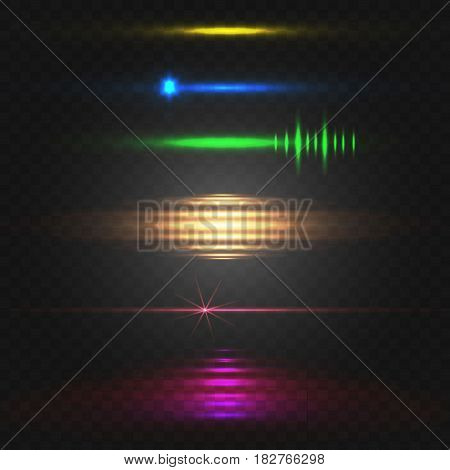 Abstract light. Colorful VECTOR set of glowing lines. Yellow, blue, green, orange, pink isolated on black