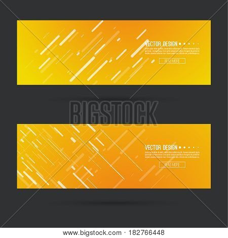 Abstract gold header with glowing dynamic diagonal lines. Set  horizontal footer gradient colors from yellow to orange. Contemporary vector banner with slashes stripes. Luxury style.