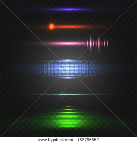 Abstract light. Colorful VECTOR set of glowing lines. Different colors isolated on black