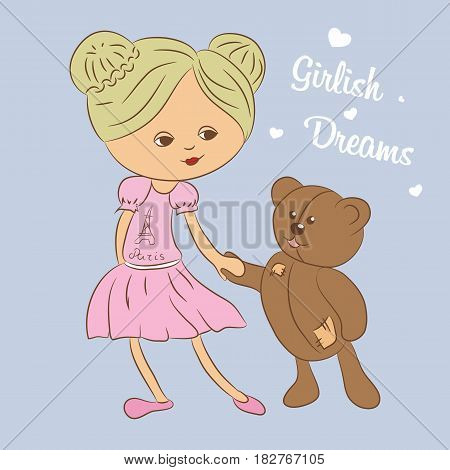 Vector color illustration with girl and teddy bear. Format eps10.