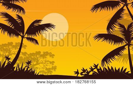 At sunset jungle landscape with palm silhouette illustration