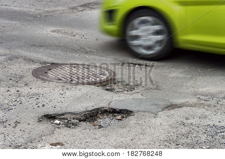 Large Potholes In Montreal, Canada.