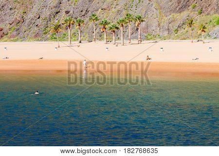 coastline of of Las Teresitas beach at summer, Tenerife