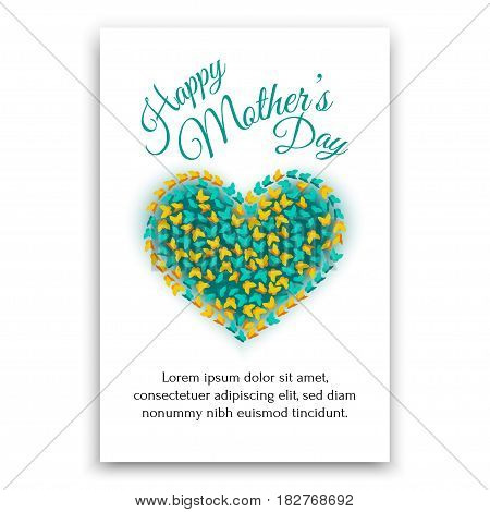 Happy Mothers Day postcard. Heart shaped design for postcard.