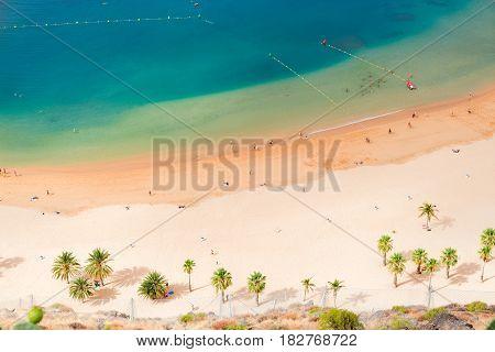 aerial birdeye view of Las Teresitas beach, Tenerife island