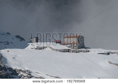 Mountain Hut In A Winter Dolomiti