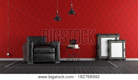 Black And Red Classic Living Room