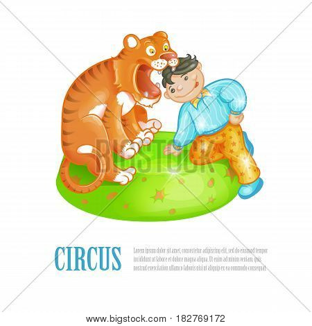 Bright vector illustration of circus performance. Brave lion tamer put his head into the open toothy mouth of a trained tiger. The announcement of the presentation, leaflet