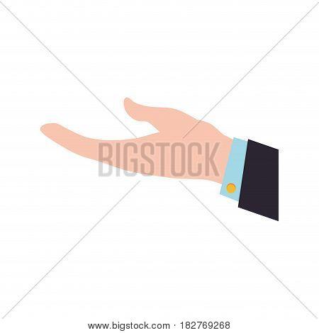 businessman open hand request vector icon illustration graphic design
