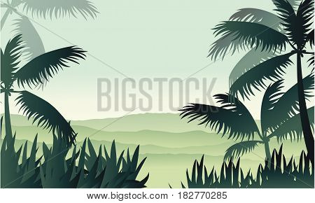 Silhouette of palm on jungle scenery vector illustration