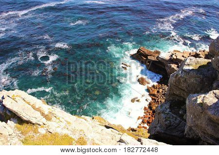 Aerial top view of the ocean. Cape of Good Hope, Cape Town, South Africa.
