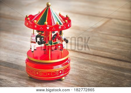 merry go round red carousel carillon horses toy vintage old