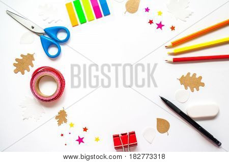 Round Frame With School Stationery And Autumn Leaves