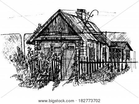 Houses in village Countryside landscape Hand drawn illustration sketch.