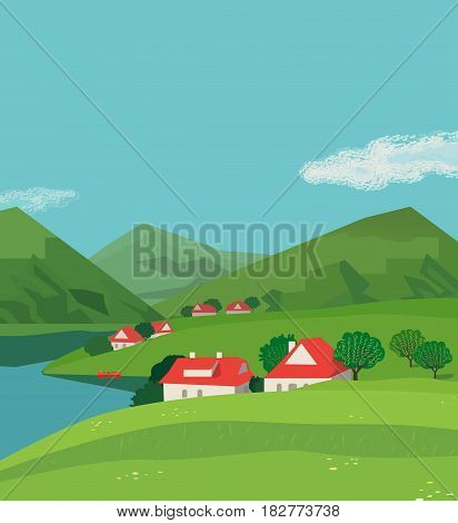 Green mountains landscape poster. Freehand drawn cartoon outdoors style. Alps rural community houses on valley. Mountain lake view, hills. Vector countryside scene background. Summer season nature