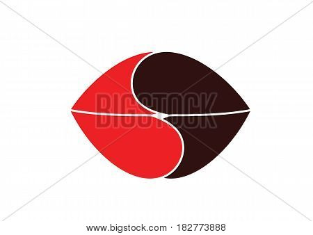 Symbolic image of a kiss of red and black lips. Vector image of two mouths fused in a kiss. Witty vector illustration-logo.