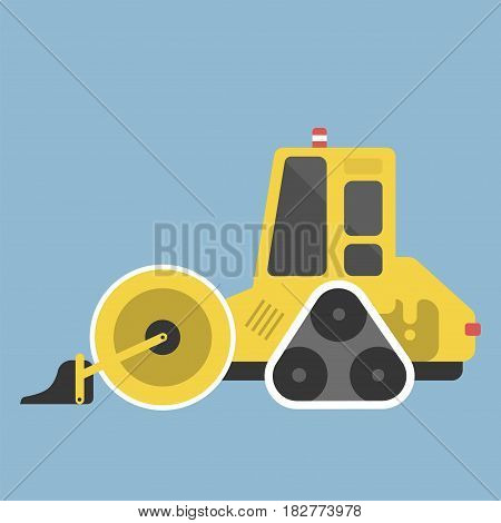 Construction tractor transportation vehicle and road machine equipment. Dumper business truck cargo sand container large platform industrial car vector illustration.