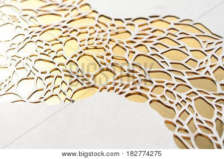 Gold Background Cut Of White Paper