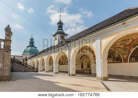 PRIBRAM CZECH REPUBLIC - APRIL 21 2017: Courtyard of the baroque monastery at Svata Hora (The Holy Mountain) Basilica minor and cloister Holly Hill (Svata hora) Pribram Bohemia Czech republic Europe - famous pilgrimage place