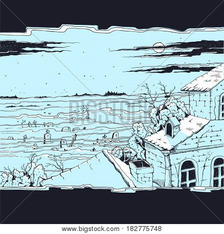 Vector sketch illustration of a spooky landscape with a cemetery and old abandoned Gothic mansion. Moonlit night on all saints day, mystical fog over the tombstones and crosses