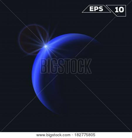 abstract blue sphere planet shine sparkles isolated on dark background