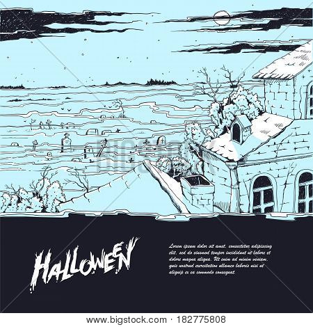 Vector sketch illustration of a spooky landscape with a cemetery and old abandoned Gothic mansion. Moonlit night on all saints day, mystical fog over the tombstones and crosses. Halloween party
