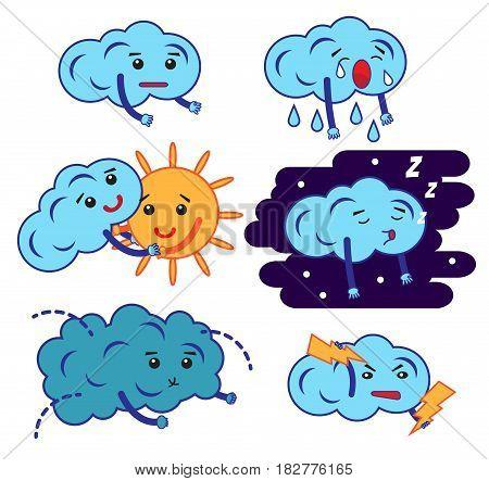 Clouds cartoon emoji, smily emoticons set. Vector.