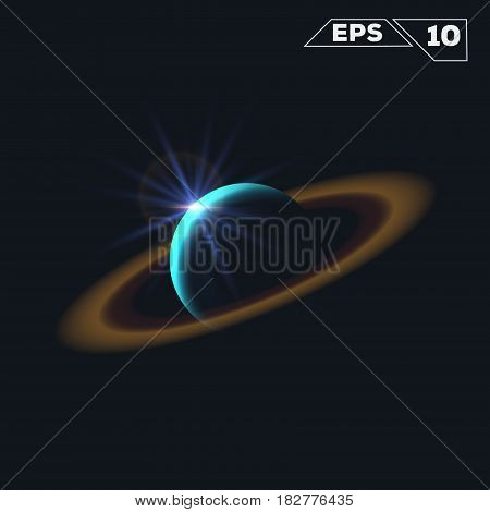 abstract planet like saturn shine sparkles isolated on dark background